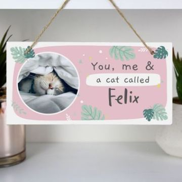Personalised Botanical Pet Photo Upload Wooden Sign