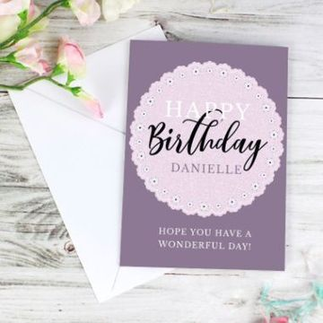 Personalised Lilac Lace Birthday Card