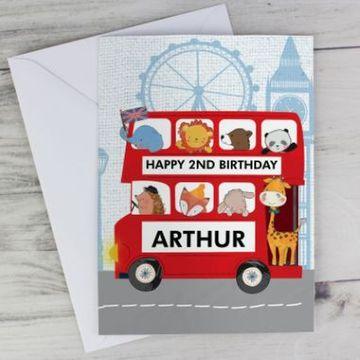 Personalised London Animal Bus Birthday Card