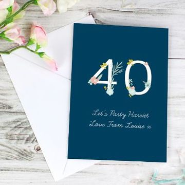 Personalised Floral Age Birthday Card