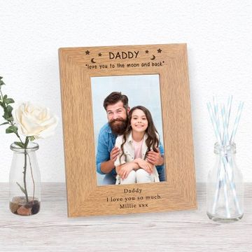 Personalised Love you to the moon Dad Photo Frame