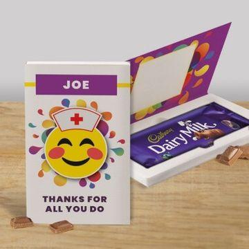Personalised Nurse Thank you Cadbury Dairy Milk Chocolate Card - 110g