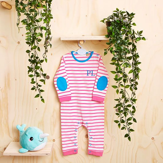 Personalised Initials Baby Striped Body Suit
