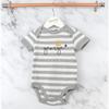 Personalised Crown Grey Striped Bodysuit