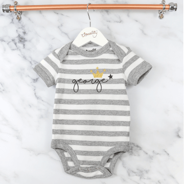 Personalised Crown Grey Striped Bodysuit