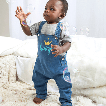 Personalised Crown Denim Dungarees