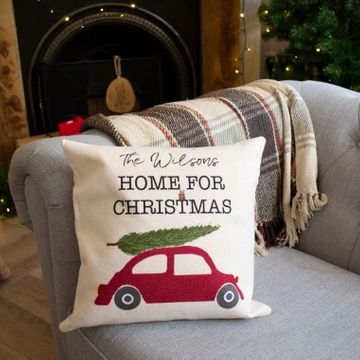 Personalised Home for Christmas Cushion