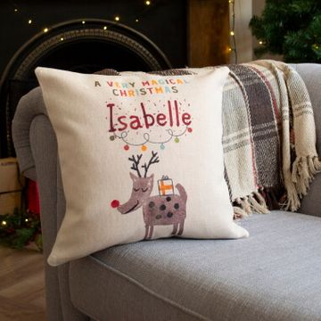 Personalised Reindeer Children's Christmas Cushion