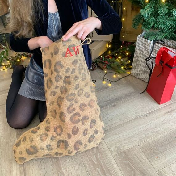 Personalised Embroidered Leopard Print Stocking