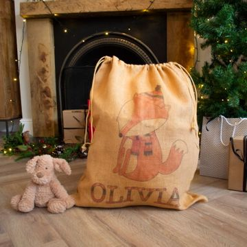 Personalised Hessian Fox Sack