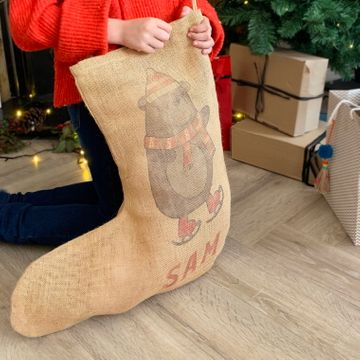 Personalised Bear Hessian Stocking