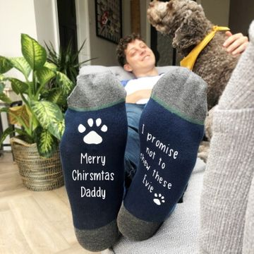 Personalised Navy Christmas Socks From The Dog