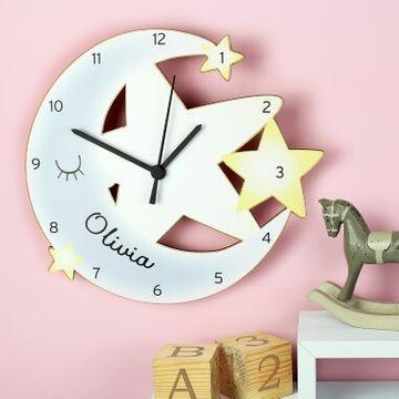 Personalised Moon and Stars Shape Clock