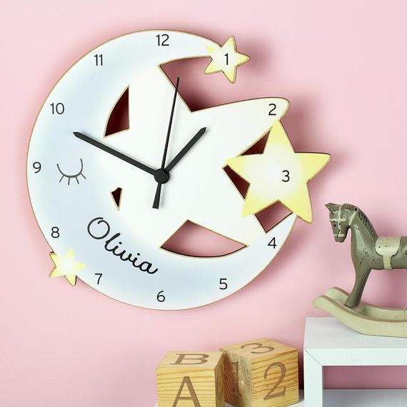 Personalised Moon and Stars Shape Clock