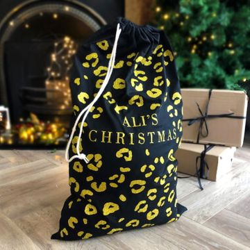 Personalised Large Glitter Leopard Print Sack