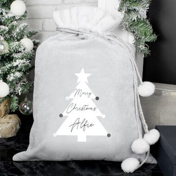 Personalised Christmas Tree Luxury Pom Pom Sack