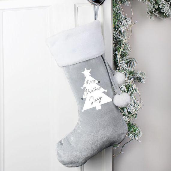 Personalised Christmas Tree Luxury Pom Pom Stocking