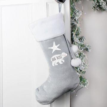 Personalised Baby Polar Bear Luxury Stocking