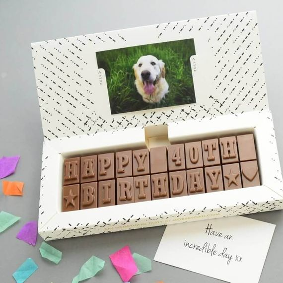 Personalised 40th Birthday Chocolate Message