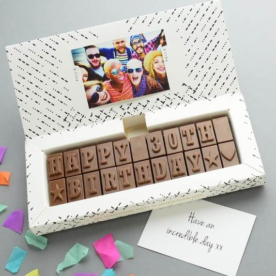 Personalised 30th Birthday Chocolate Message