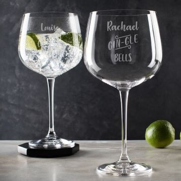 Personalised Gin-gle Bells Balloon Glass