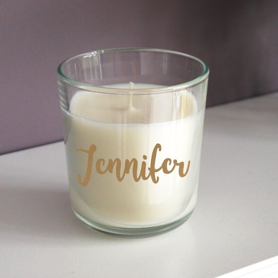 Personalised Gold Name Scented Candle with Lid