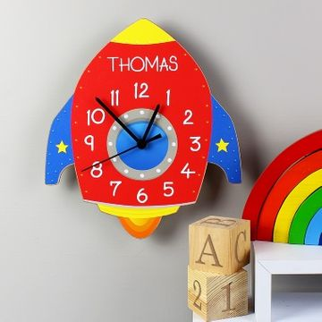 Personalised Rocket Wooden Clock