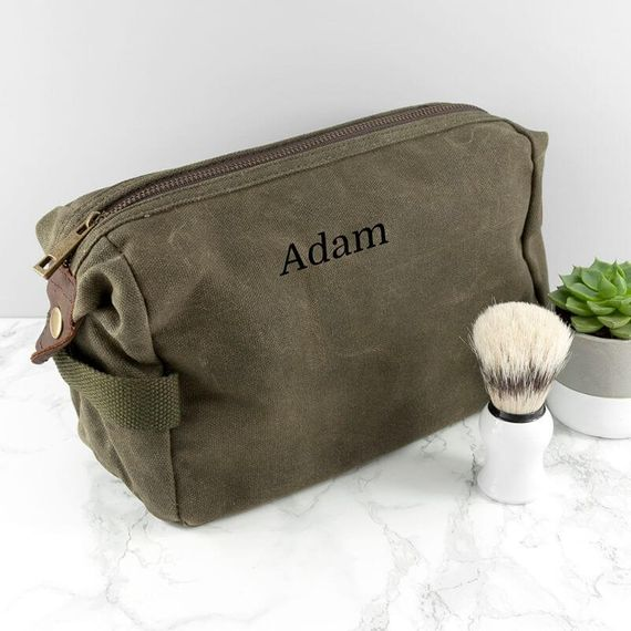 Personalised Men's Vintage Canvas Wash Bag