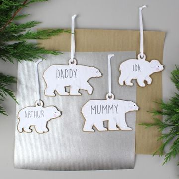 Personalised Polar Bear Wooden Decorations - Set of Four