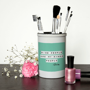 Personalised Kind People Make Up Brush Holder
