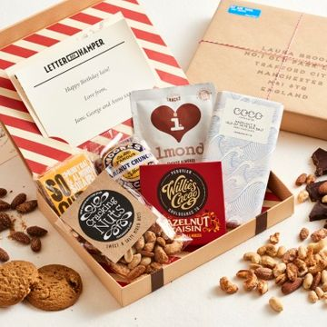 Personalised Nuts And Chocolate Letter Box Hamper