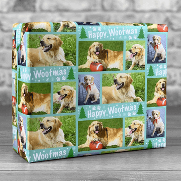 Personalised Happy Woofmas Photo Upload Gift Wrap - Teal