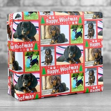 Personalised Happy Woofmas Photo Upload Gift Wrap - Red