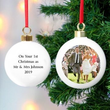 Personalised Photo Bauble With Text