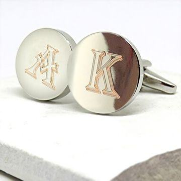 Personalised Round Initial Cufflinks