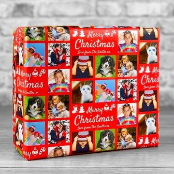 Personalised 7 Photo Merry Christmas Gift Wrap - Red