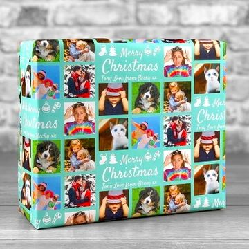 Personalised 7 Photo Merry Christmas Gift Wrap - Teal