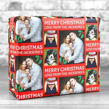 Personalised 3 Photo Merry Christmas Gift Wrap - Red