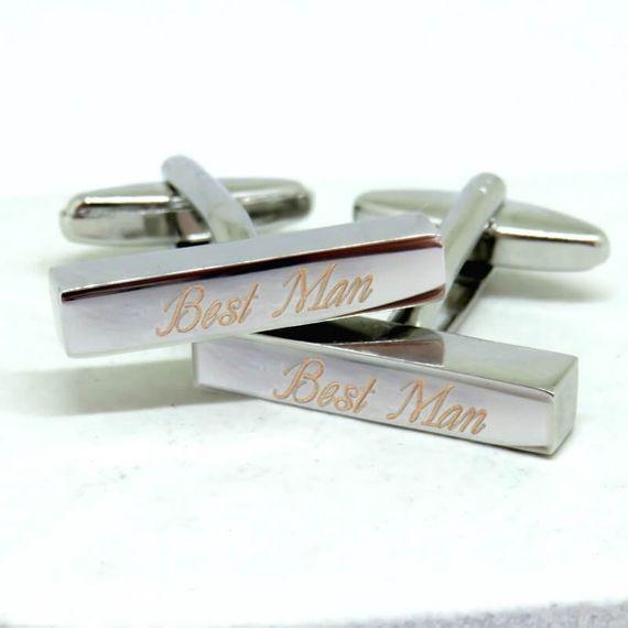 Personalised Deco Script Bar Cufflinks