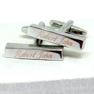 Personalised Deco Script Bar Cufflinks