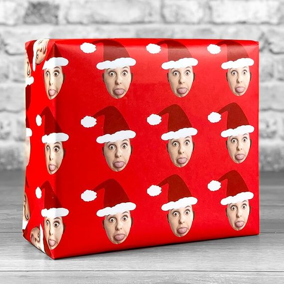 Personalised Santa Photo Upload Gift Wrap - Red