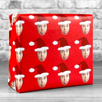 Personalised Santa Photo Upload Gift Wrap - Red