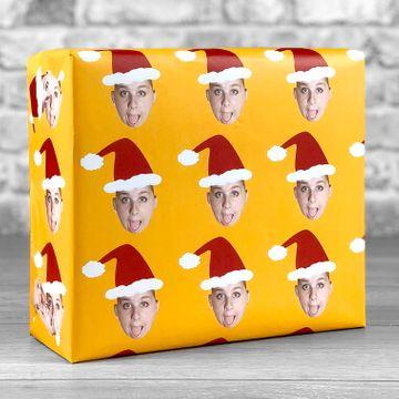Personalised Santa Photo Upload Gift Wrap - Orange