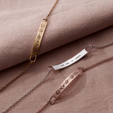 Personalised Love The Earth Bar Bracelet