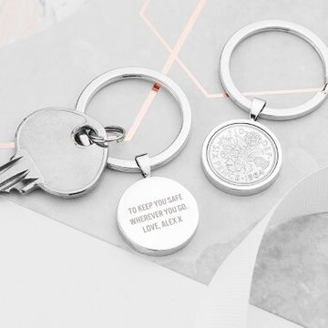 Personalised Lucky Sixpence Keyring