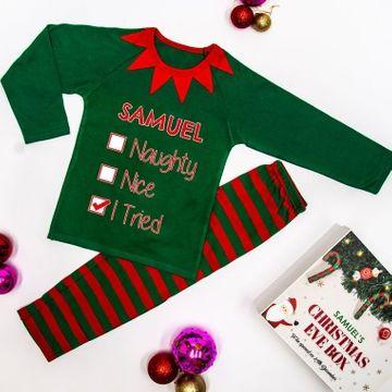 Personalised Naughty or Nice Children's Pyjamas - Green