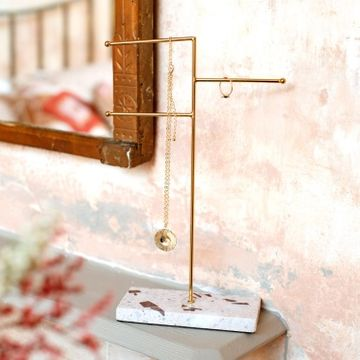 Terrazzo & Gold Jewellery Stand