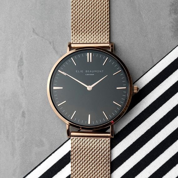 Personalised Rose Gold Mesh Strapped Watch