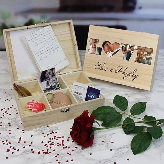 Personalised Love Photo Keepsake Box - 6 Compartments
