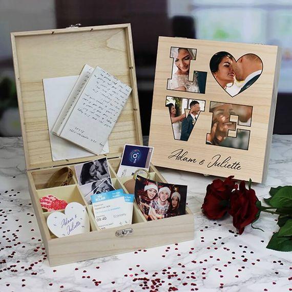 Personalised Love Photo Keepsake Box - 9 Compartments